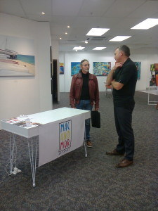 Sam the poet talks with Murray Clode of macandmor pop up gallery