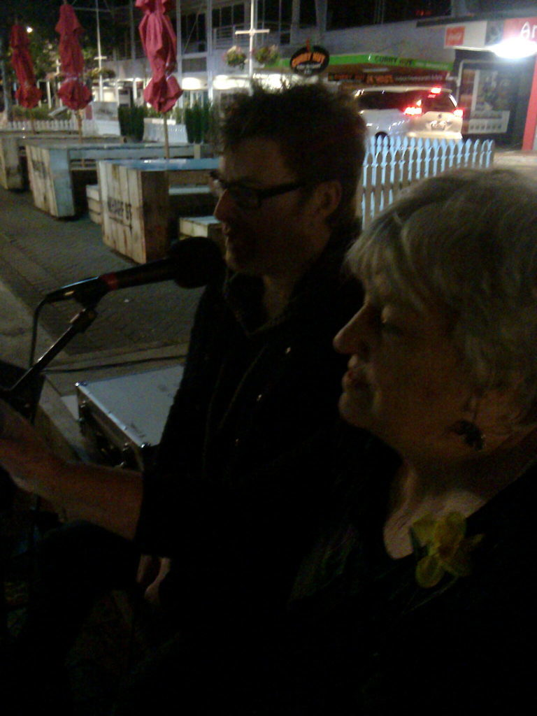 John Baxter and Jenny Argante on the Wharf Street Stage National Poetry Day 2016