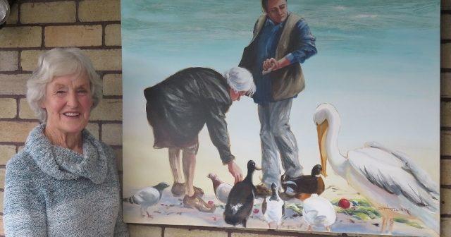 Pat Williams – Open Studio during the NZ Mural Contest in Katikati by Birgitt Shannon